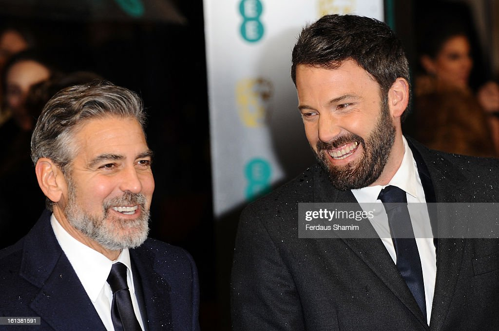 George Clooney and Ben Affleck attend the EE British Academy Film Awards at The Royal Opera House on February 10, 2013 in London, England.