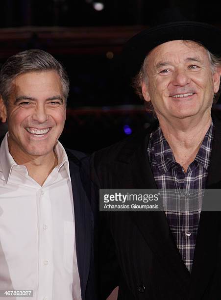 George Clooney and Bill Murray attend 'The Monuments Men' premiere during 64th Berlinale International Film Festival at Berlinale Palast on February...