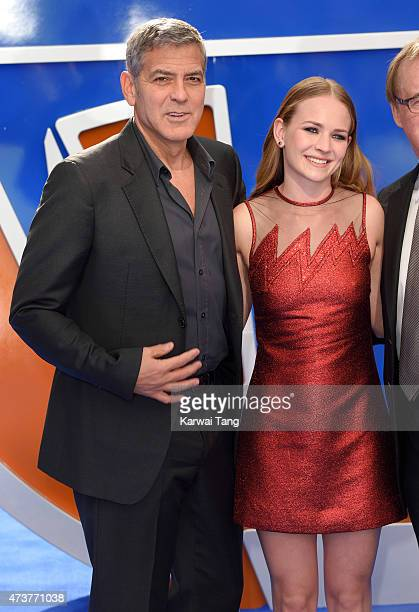 George Clooney and Britt Robertson attend the European premiere of 'Tomorrowland A World Beyond' at Odeon Leicester Square on May 17 2015 in London...