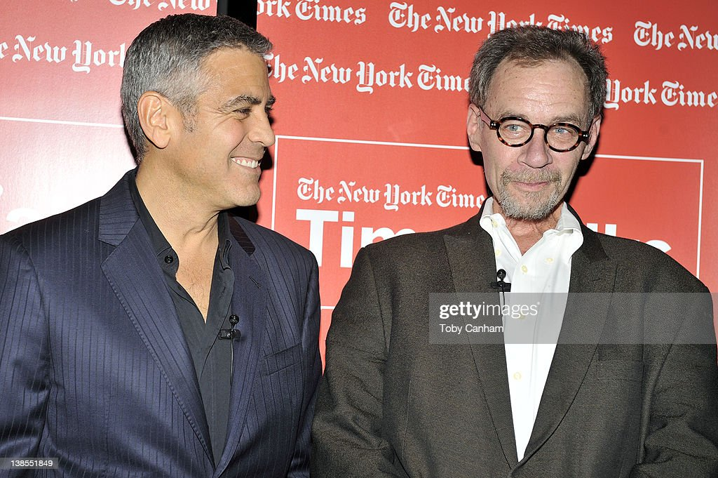 George Clooney and David Carr pose for a picture at TimesTalks 'A Conversation With George Clooney And Alexander Payne' at SilverScreen Theater at...