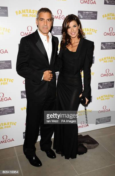 George Clooney and Elisabetta Canalis arrive for the aftershow party of new film Fantastic Mr Fox at the Saatchi Gallery in London