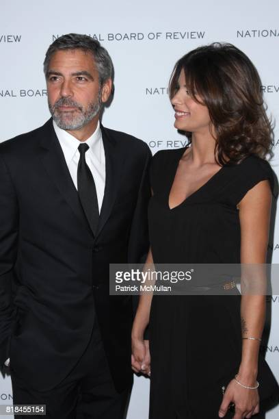 George Clooney and Elisabetta Canalis attend THE NATIONAL BOARD OF REVIEW OF MOTION PICTURES AWARDS GALA at Cipriani 42nd St on January 12 2010 in...