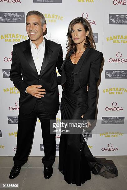 George Clooney and Elisabetta Canalis attend the Opening Gala premiere after party of 'Fantastic Mr Fox' during The Times BFI London Film Festival...