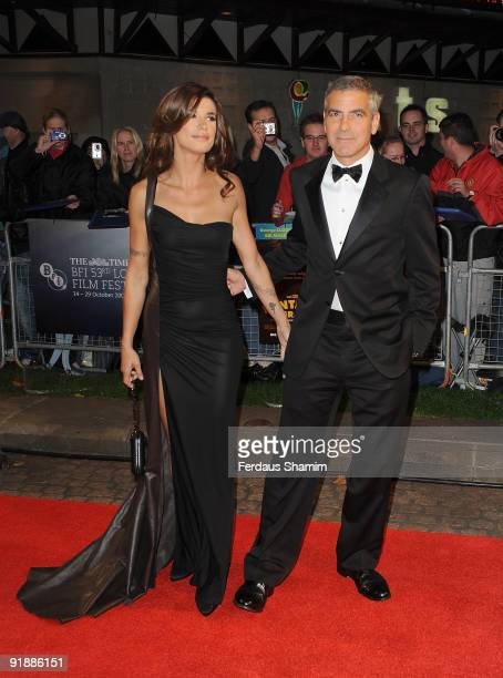 George Clooney and Elisabetta Canalis attend the Opening Gala for The Times BFI London Film Festival which Premiere's 'Fantastic Mr Fox' at Odeon...