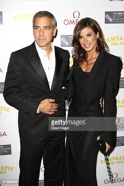 George Clooney and Elisabetta Canalis attend the opening gala premiere afterparty of Fantastic Mr Fox during the The Times BFI London Film Festival...