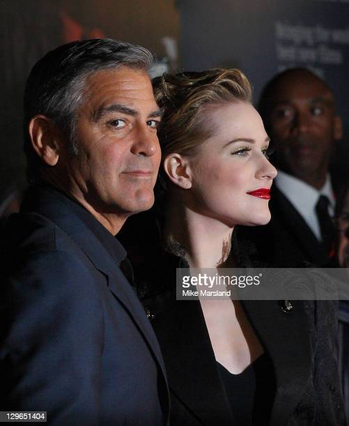 George Clooney and Evan Rachel Wood attend the gala screening of The Ides Of March at The 55th BFI London Film Festival at Odeon West End on October...