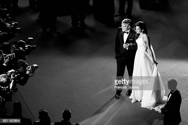 George Clooney and his wife Amal Clooney attend the screening of 'Money Monster' at the annual 69th Cannes Film Festival at Palais des Festivals on...