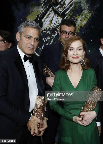 George Clooney and Isabelle Huppert attend Cesar Film Award at Salle Pleyel on February 24 2017 in Paris France