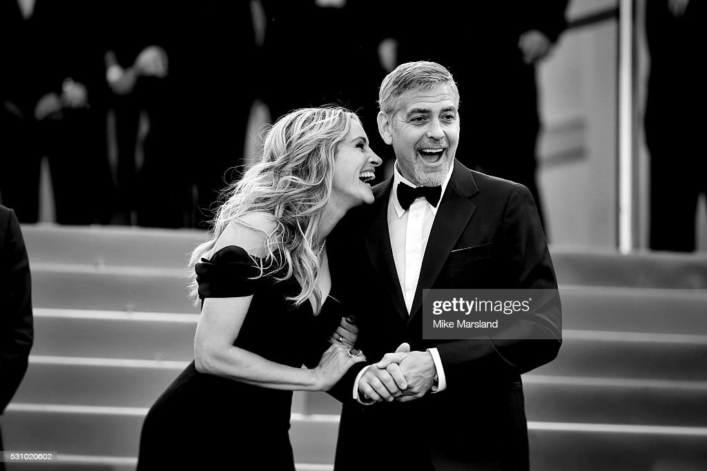 George Clooney and Julia Roberts attend the 'Money Monster' premiere during the 69th annual Cannes Film Festival at the Palais des Festivals on May 12, 2016 in Cannes, France
