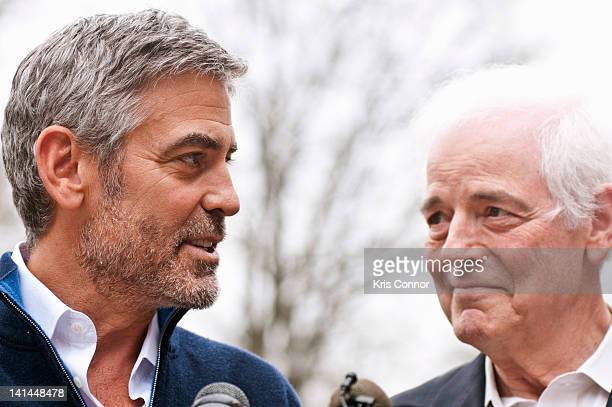 George Clooney and Nick Clooney speak with the media following their arrest during a protest against Sudan's Food Blockade on March 16 2012 in...