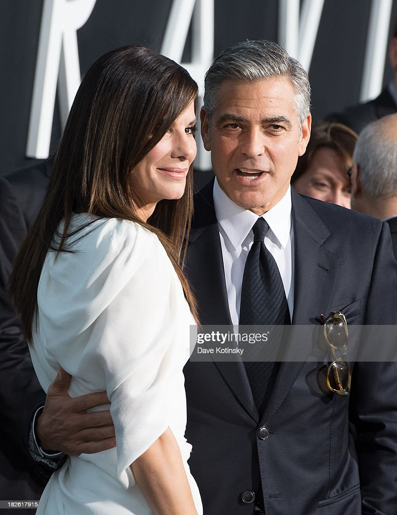 George Clooney and Sandra Bullock attends the 'Gravity' premiere at AMC Lincoln Square Theater on October 1, 2013 in New York City.
