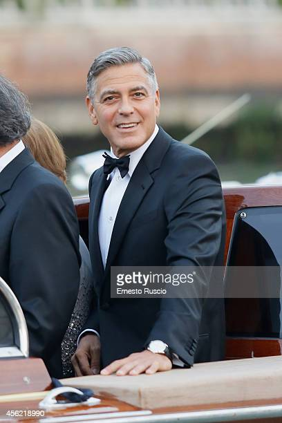 George Clooney arrives at Haman Hotel on September 27 2014 in Venice Italy