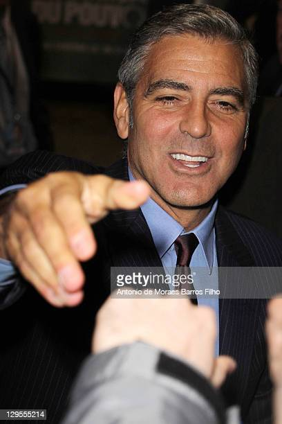 George Clooney arrives at 'The Ides of March' Paris Premiere at Cinema UGC Normandie on October 18 2011 in Paris France