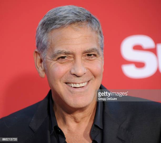 George Clooney arrives at the premiere of Paramount Pictures' 'Suburbicon' at Regency Village Theatre on October 22 2017 in Westwood California