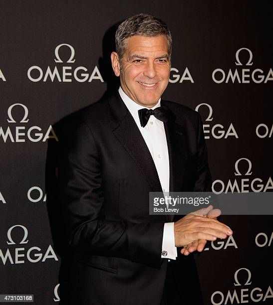 George Clooney Brand Ambassador arrives as Omega celebrates the 45th Anniversary of Apollo 13 Mission at the Western Airways Airport Hangar on May 12...