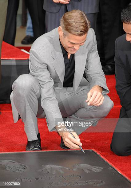 George Clooney during Ocean's Thirteen Handprint and Footprint Ceremony at Grauman's Chinese Theater in Hollywood California United States