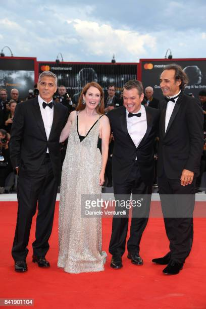 George Clooney Julianne Moore Matt Damon and Alexandre Desplat walk the red carpet ahead of the 'Suburbicon' screening during the 74th Venice Film...