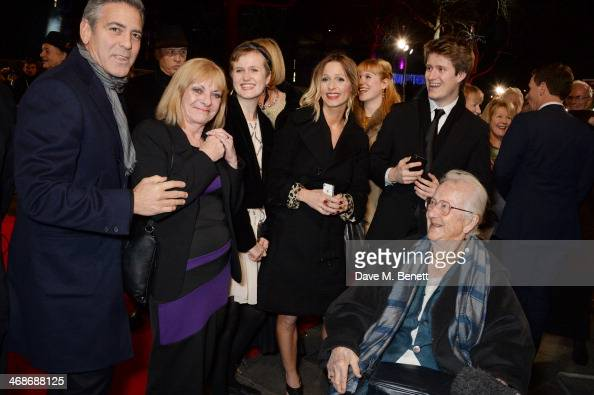 George Clooney meets Surviving Monuments Man Anne Olivier Bell at the UK Premiere of 'The Monuments Men' at Odeon Leicester Square on February 11...