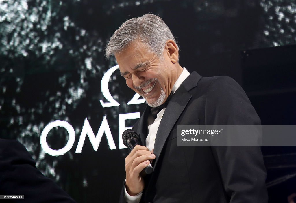 George Clooney on stage at the OMEGA 'Lost In Space' dinner to celebrate the 60th anniversary of the OMEGA Speedmaster, which has been worn by every piloted NASA mission since 1965, at Tate Modern on April 26, 2017 in London, England.
