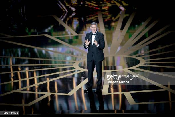 George Clooney on stage during the Cesar Film Awards Ceremony at Salle Pleyel on February 24 2017 in Paris France