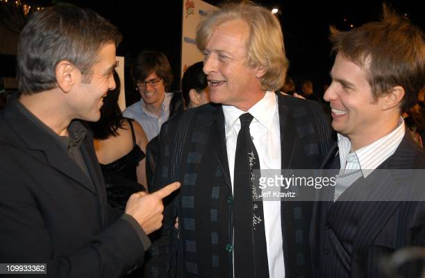 George Clooney Rutger Hauer and Sam Rockwell during Confessions of a Dangerous Mind Premiere at Mann Bruin Theatre in Westwood California United...