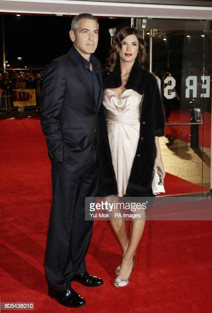 George Clooney with Elisabetta Canalis arriving for the London Film Festival premiere of 'The Men Who Stare At Goats' at the Odeon Leicester Square...