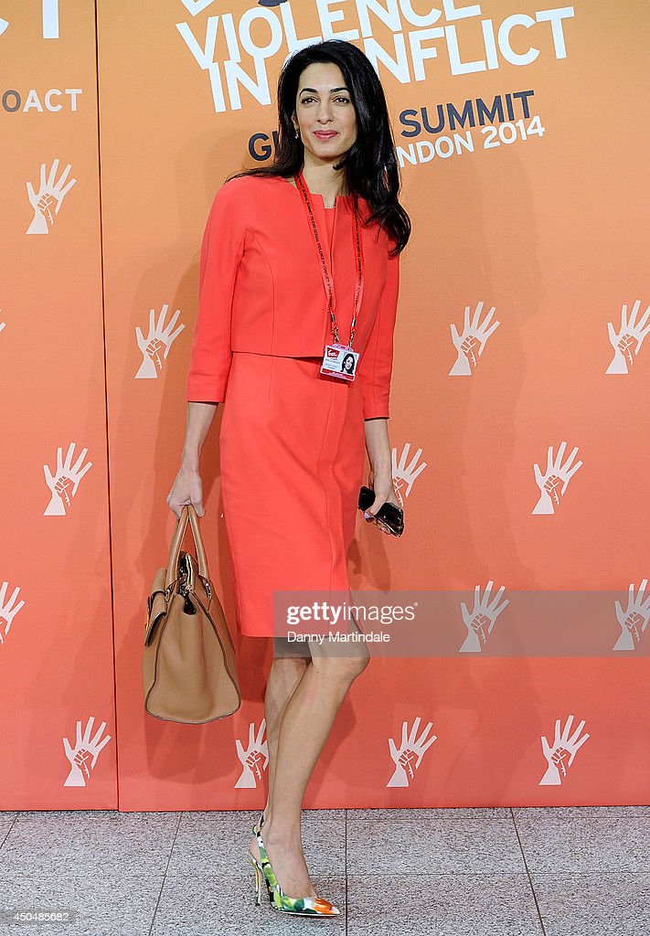 George Clooney's girlfriend <a gi-track='captionPersonalityLinkClicked' href=/galleries/search?phrase=Amal+Alamuddin&family=editorial&specificpeople=12534567 ng-click='$event.stopPropagation()'>Amal Alamuddin</a> attends the Global Summit to end Sexual Violence in Conflict at ExCel on June 12, 2014 in London, England.