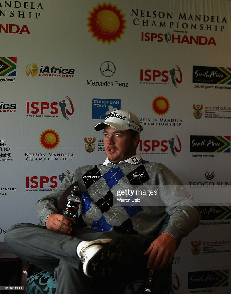 George Coetzee of South Africa addreses a press conference during the Pro-am of The Nelson Mandela Championship presented by ISPS Handa at Royal Durban Golf Club on December 5, 2012 in Durban, South Africa.