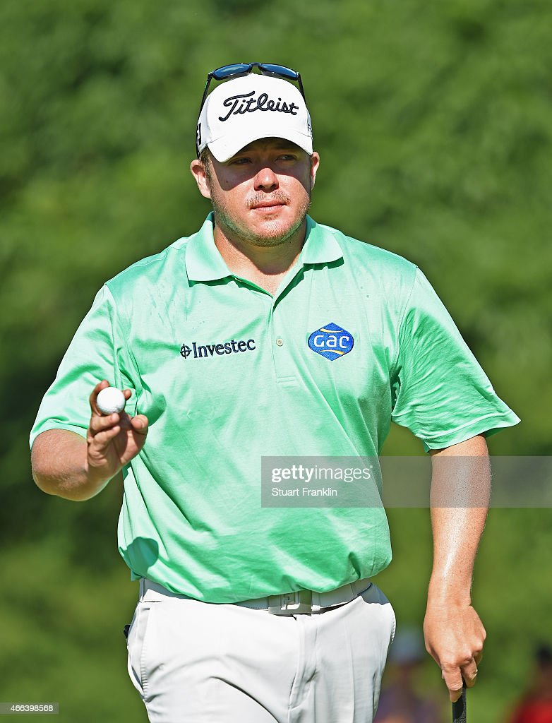 George Coetzee of South Africa celebrates his birdie putt on the 17th hole during the final round of the Tshwane Open at Pretoria Country Club on...
