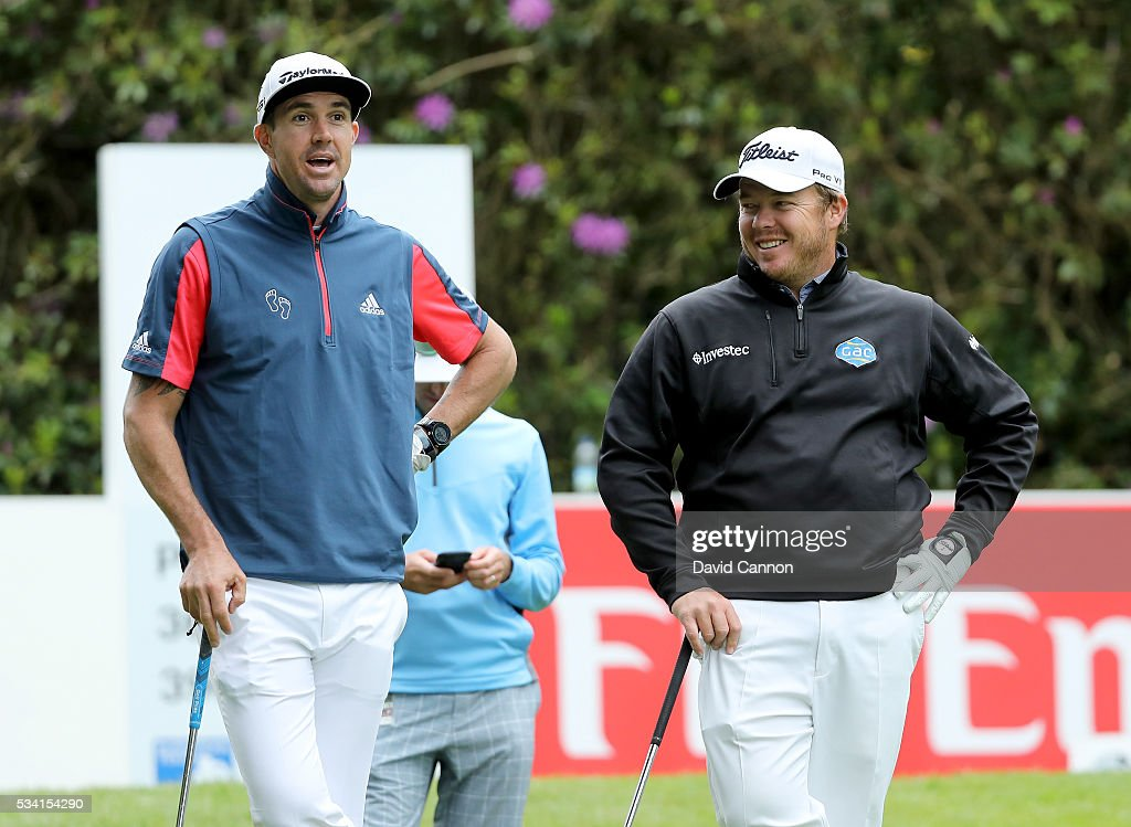 <a gi-track='captionPersonalityLinkClicked' href=/galleries/search?phrase=George+Coetzee&family=editorial&specificpeople=4687881 ng-click='$event.stopPropagation()'>George Coetzee</a> of South Africa chats to Kevin Pietersen during the Pro-Am prior to the BMW PGA Championship at Wentworth on May 25, 2016 in Virginia Water, England.