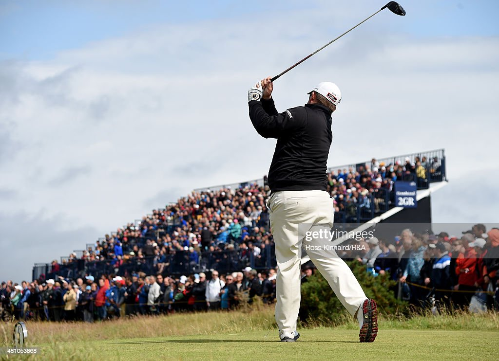George Coetzee of South Africa hits his tee shot on the third hole during the second round of the 144th Open Championship at The Old Course on July 17, 2015 in St Andrews, Scotland.