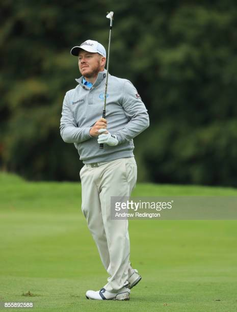 George Coetzee of South Africa in action during the third round of the British Masters at Close House Golf Club on September 30 2017 in Newcastle...