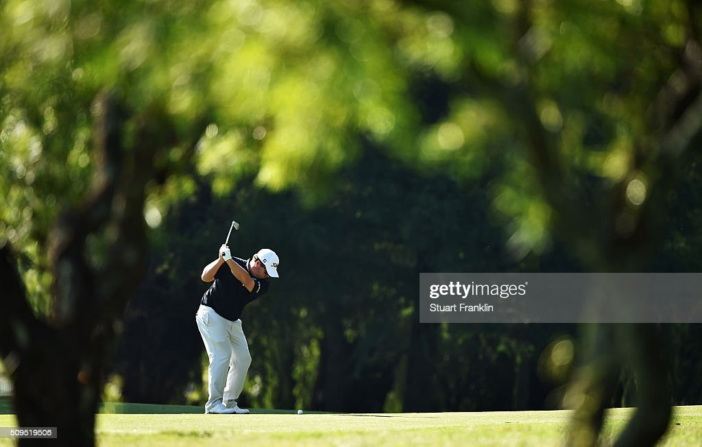 <a gi-track='captionPersonalityLinkClicked' href=/galleries/search?phrase=George+Coetzee&family=editorial&specificpeople=4687881 ng-click='$event.stopPropagation()'>George Coetzee</a> of South Africa plays a shot during the first round of the Tshwane Open at Pretoria Country Club on February 11, 2016 in Pretoria, South Africa.