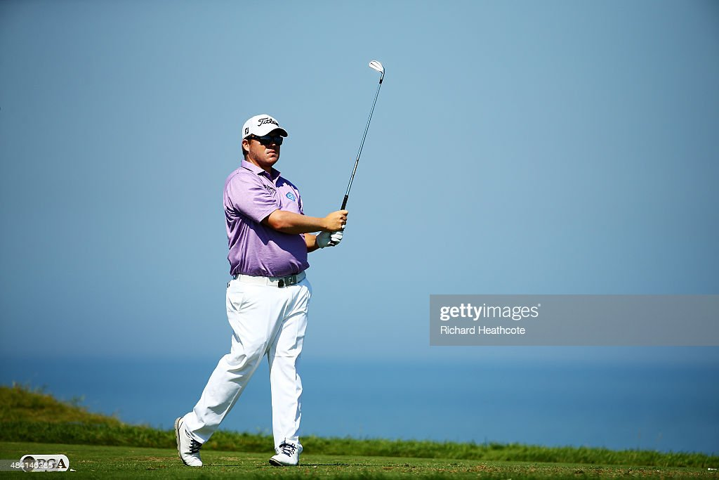 George Coetzee of South Africa plays his shot from the third tee during the third round of the 2015 PGA Championship at Whistling Straits at on...