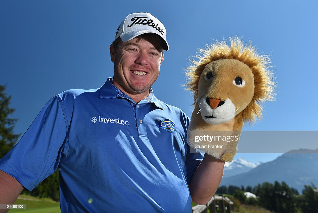 George Coetzee of South Africa poses for a picture during practice prior to the start of the Omega European Masters at CranssurSierre Golf Club on...