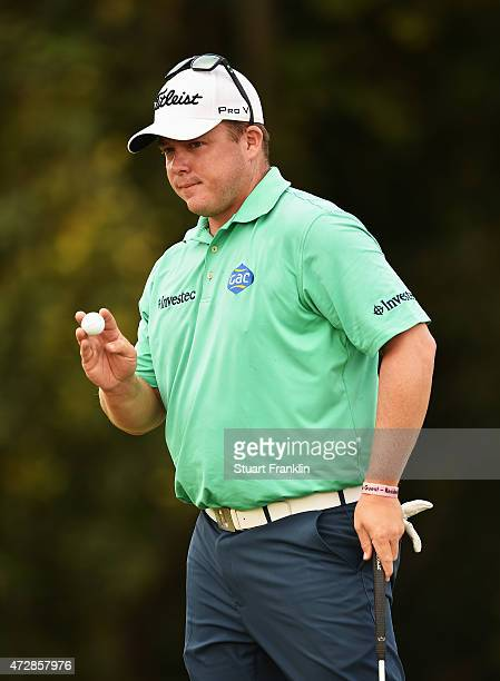 George Coetzee of South Africa reacts to a shot during the final round of the AfrAsia Bank Mauritius Open at Heritage Golf Club on May 10 2015 in Bel...