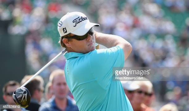 George Coetzee of South Africa tees off at the 17th hole during the second round of The 143rd Open Championship at Royal Liverpool on July 18 2014 in...