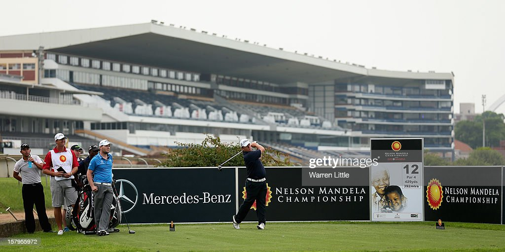 George Coetzee of South Africa tees off on the 12th hole during the first round of The Nelson Mandela Championship presented by ISPS Handa at Royal Durban Golf Club on December 8, 2012 in Durban, South Africa.