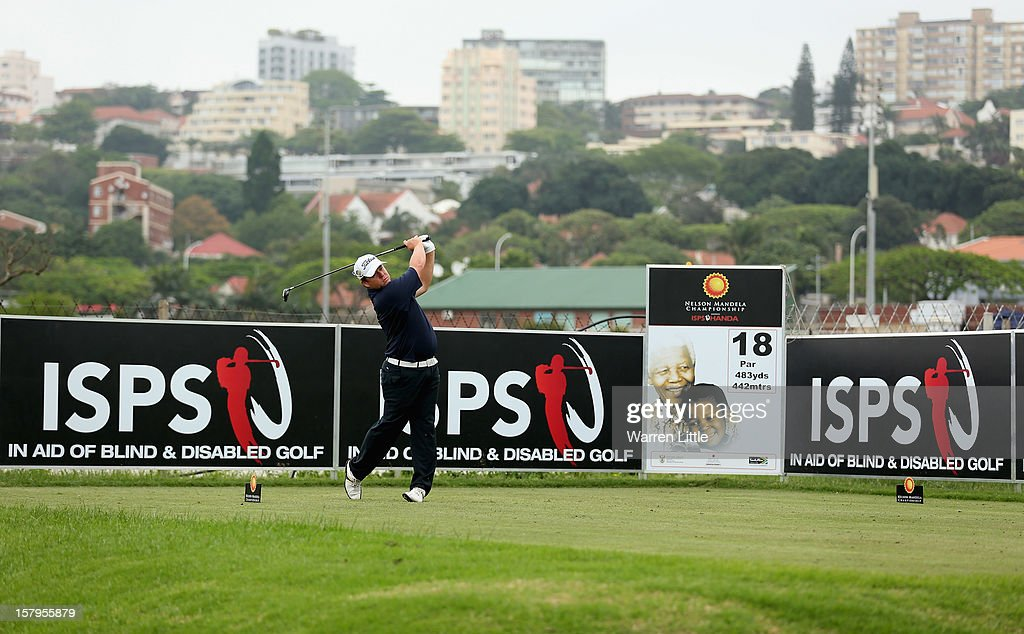 George Coetzee of South Africa tees off on the 18th hole during the first round of The Nelson Mandela Championship presented by ISPS Handa at Royal Durban Golf Club on December 8, 2012 in Durban, South Africa.