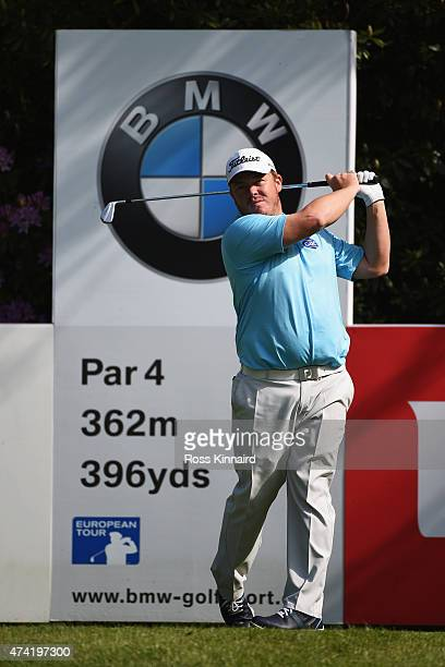 George Coetzee of South Africa tees off on the 7th hole during day 1 of the BMW PGA Championship at Wentworth on May 21 2015 in Virginia Water England