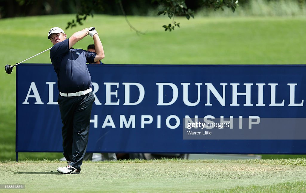 George Coetzee of South Africa tees off on the fourth hole during the second round of the Alfred Dunhill Championship at Leopard Creek Country Golf Club on December 14, 2012 in Malelane, South Africa.