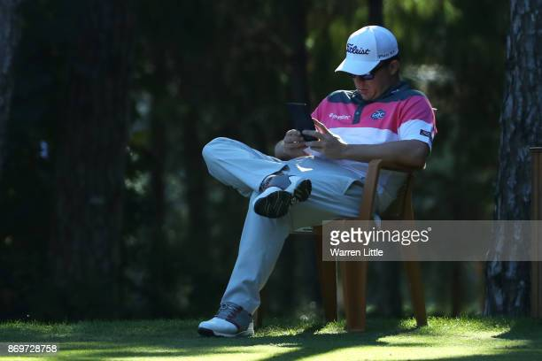 George Coetzee of South Africa waits on the 9th tee during the second round of the Turkish Airlines Open at the Regnum Carya Golf Spa Resort on...