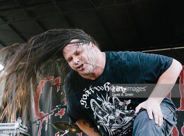 George 'Corpsegrinder' Fisher of Cannibal Corpse the Rockstar Energy Drink Mayhem Festival at Lakewood Amphitheatre on August 5 2014 in Atlanta...