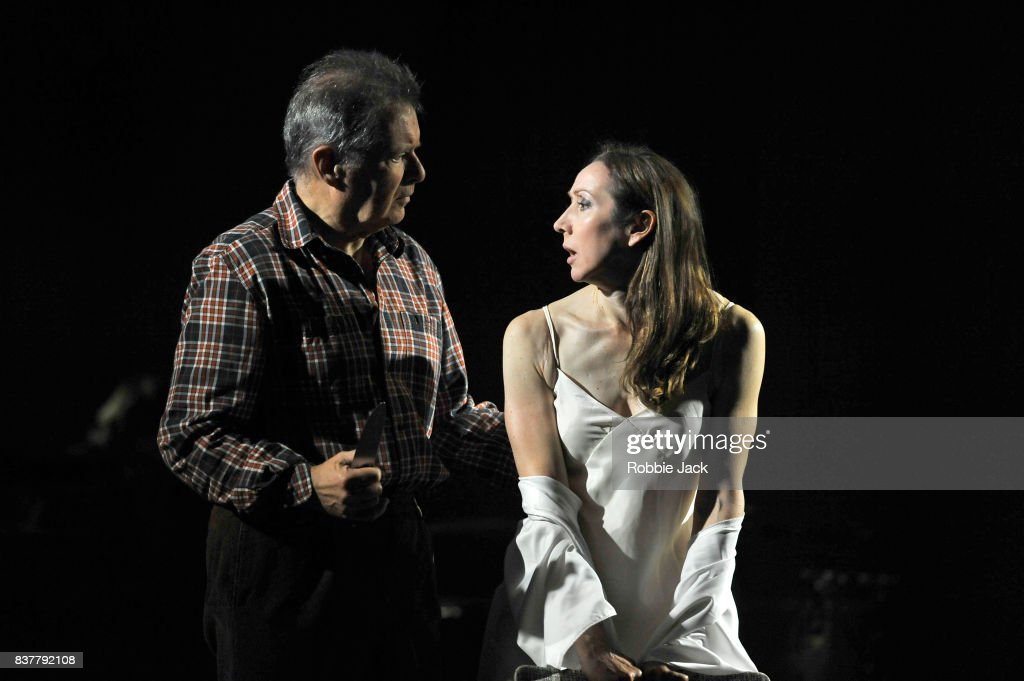 George Costigan as Butcher and Pauline Knowles as Clytemnestra in The Citizens Theatre production of Zinnie Harris's Oresteia:This Restless House as part of the Edinburgh International Festival at The Royal Lyceum Theatre on August 22, 2017 in Edinburgh, Scotland.