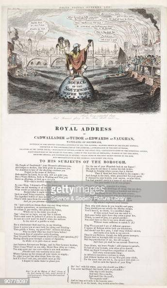 George Cruickshank drew this caricature to illustrate a satirical poem �The Royal Address of Cadwallader apTudor apEdwards apVaughan WaterKing of...