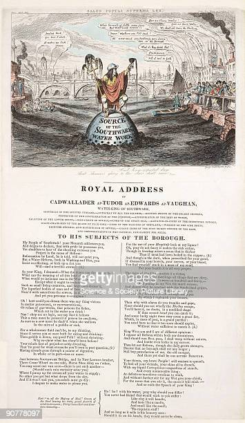 George Cruickshank drew this caricature to illustrate a satirical poem �The Royal Address of Cadwallader apTudor apEdwards apVaughan WaterKing of...