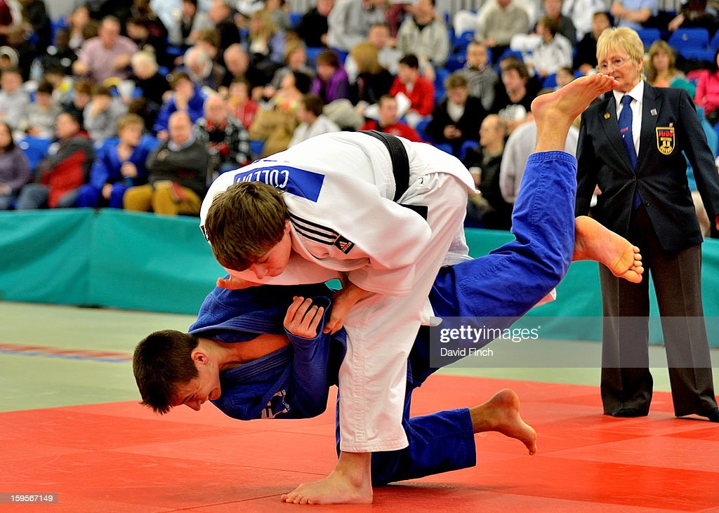George Cullum of Tonbridge (white) threw Kier Hetherington of Kendal for an ippon with this throw in the Cadet Boys Under 66kgs category during the British Cadet and Pre-Cadet Judo Championships on day 1, Saturday, January 12, 2013 at the English Institute of Sport, Sheffield, England, UK.