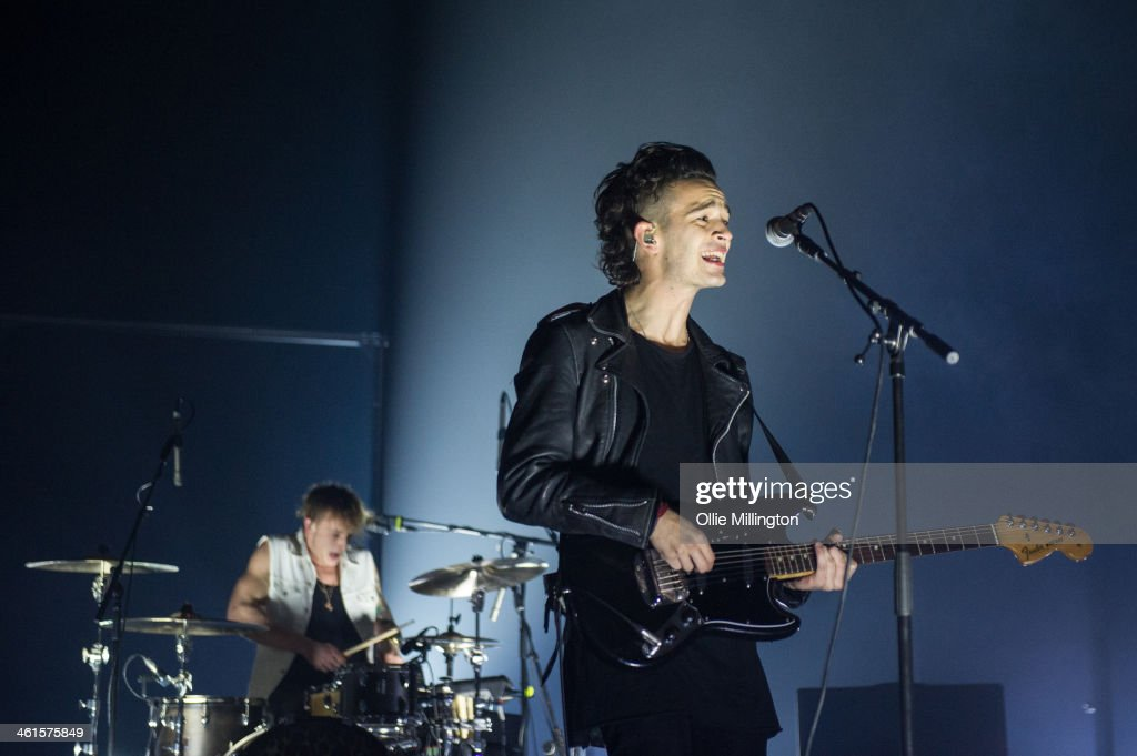 George Daniel and <a gi-track='captionPersonalityLinkClicked' href=/galleries/search?phrase=Matthew+Healy&family=editorial&specificpeople=10172163 ng-click='$event.stopPropagation()'>Matthew Healy</a> of The 1975 perform on stage at Brixton Academy on January 9, 2014 in London, United Kingdom.