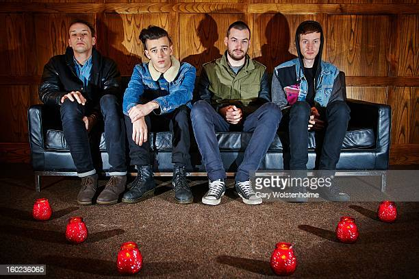 George Daniel Matthew Healy Ross MacDonald and Adam Hann of The 1975 pose backstage at Soyo on January 28 2013 in Sheffield England