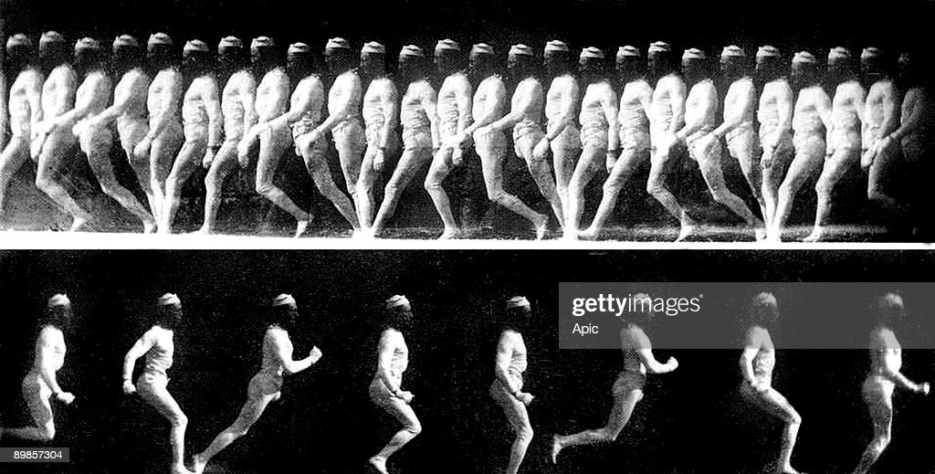 George Demeny walking and jumping, chronophotography by Etienne-Jules Marey c. 1883